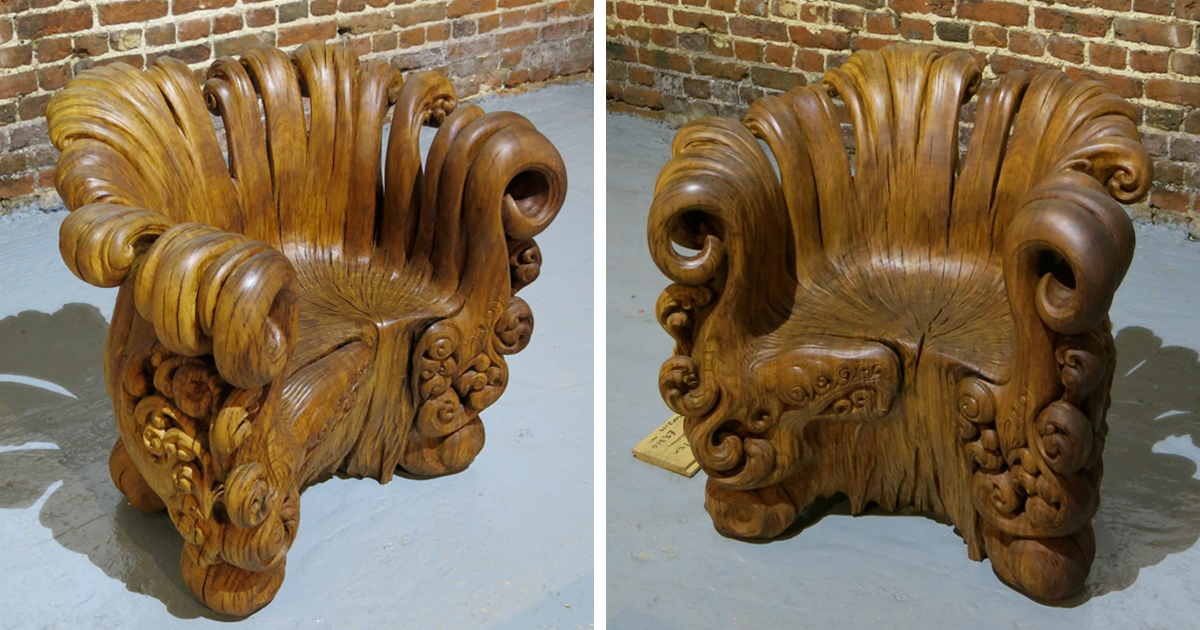 Stunning chair carved from a single oak stump by alex