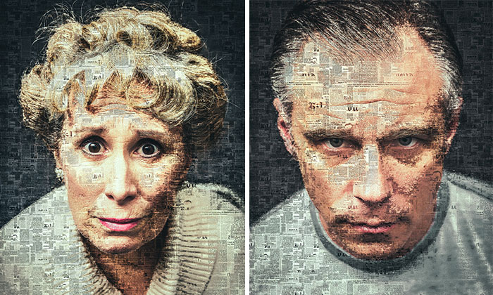 I Use Newspapers To Create Portraits That Depict Communication During WWII