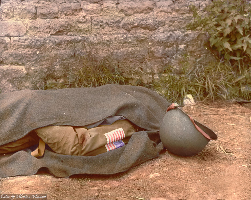 Blanket Covered Body Of A Us Paratrooper Killed In