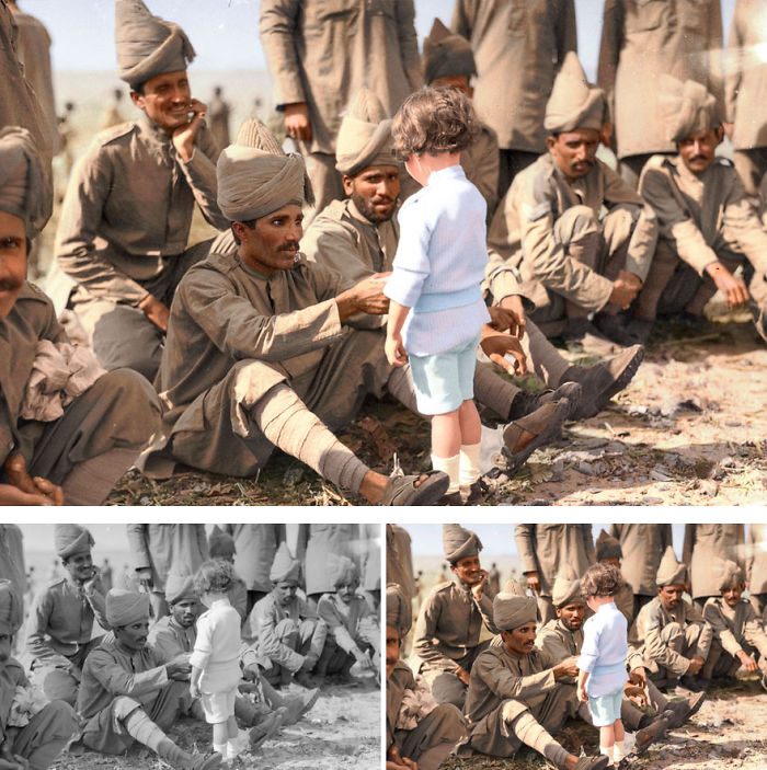A French Boy Introduces Himself To Indian Soldiers