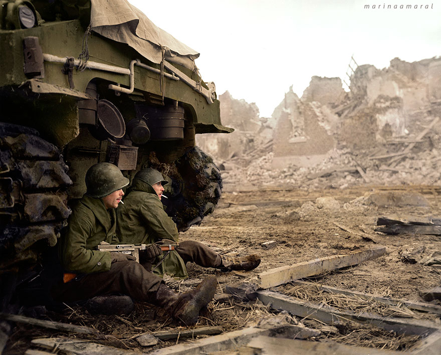 Two U.s. Soldiers Of C Company, 1944