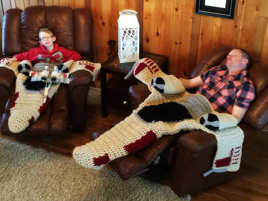 Crochet X Wing : Crocheted X-Wing Starfighter Blanket That I Made To Keep The Force ...