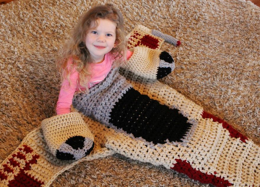 Crocheted X-Wing Starfighter Blanket That I Made To Keep The Force Warm