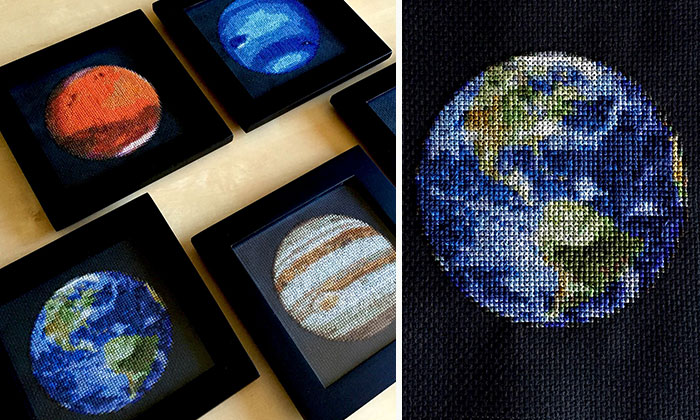 Earth Is The Latest Addition To My Solar System Cross-Stitch Project!