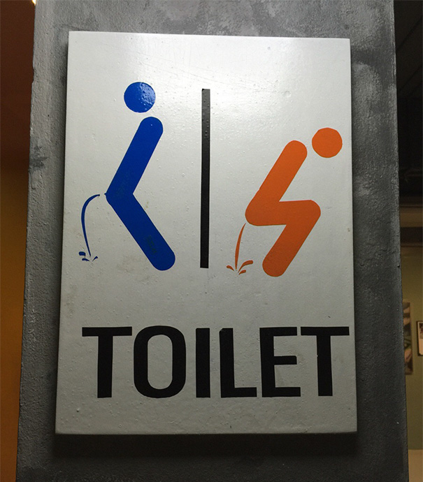 clever bathroom signs. a bathroom sign found in thailand clever signs