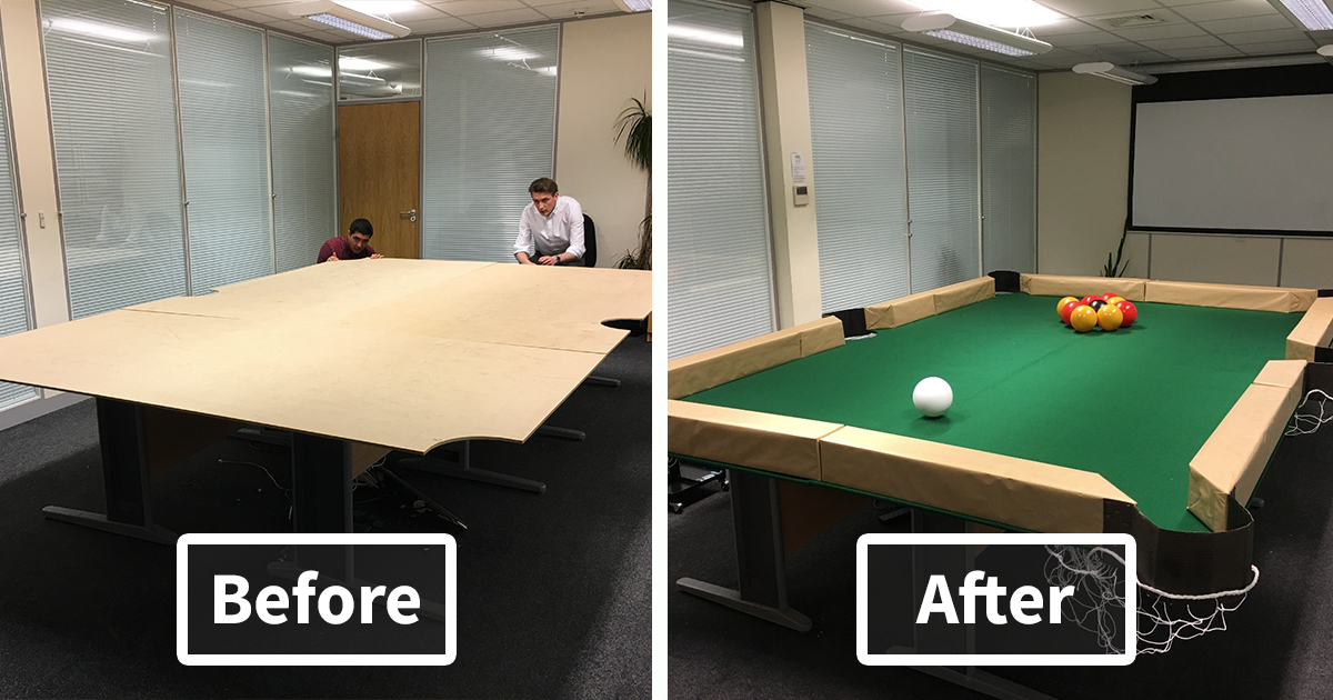 Boss asked us to improve our knowledge on leaf blowers so we invented leaf blower billiards - Who invented table football ...