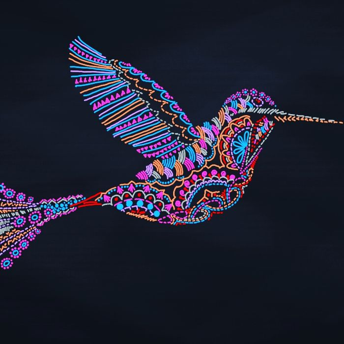 Hand-drawn Colourful Birds Entirely Hand Drawn In Repeated Patterns.