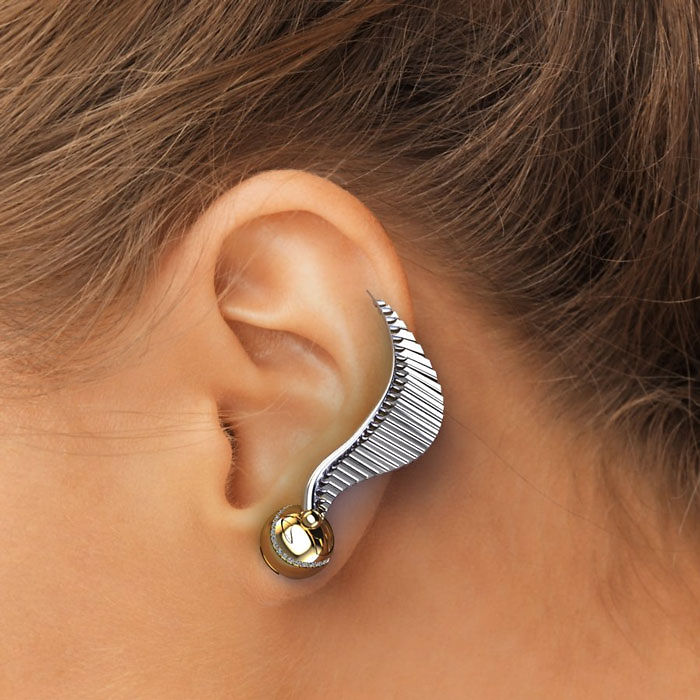 Golden Snitch Ear Climber Earrings