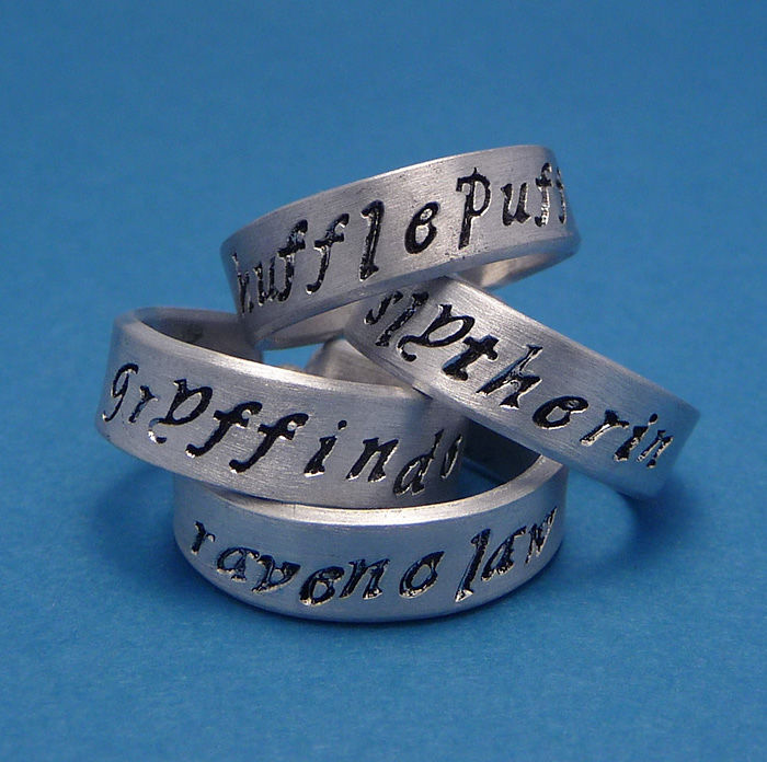 Gryffindor, Slytherin, Hufflepuff, And Ravenclaw Rings