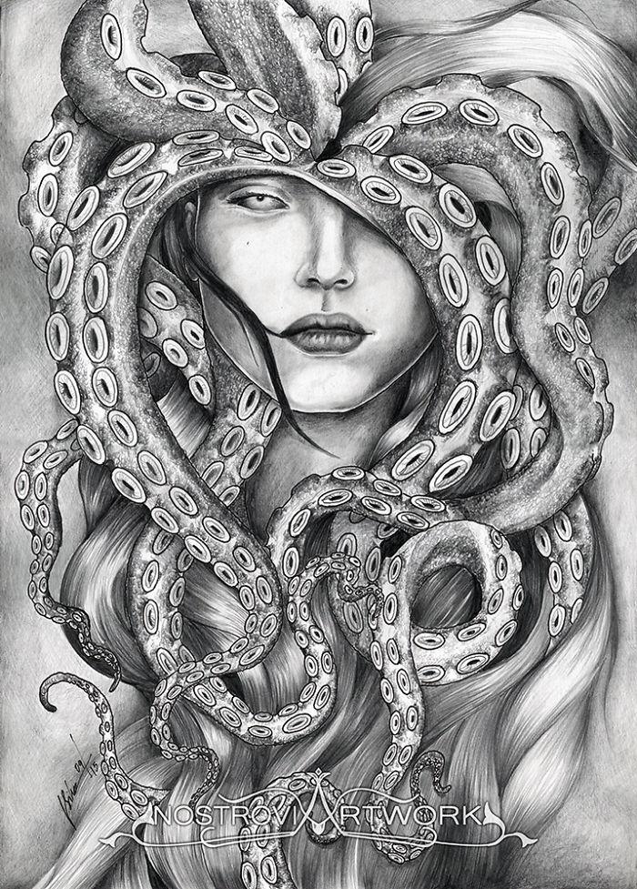 I Create Drawings Depicting Sea Godesses