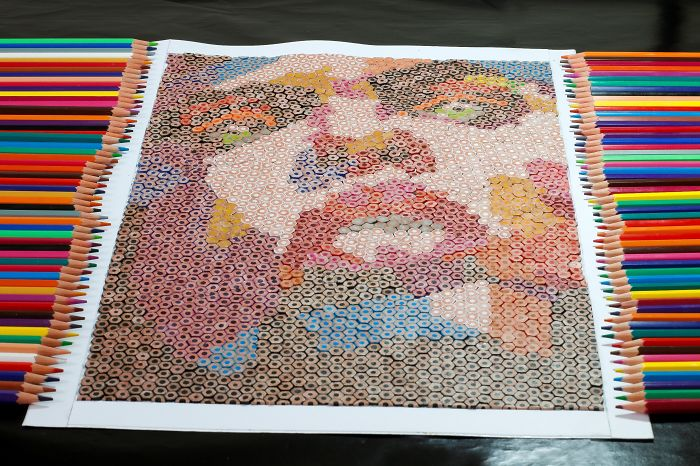 I Created A Unique Mosaic Made Of Colored Pencils