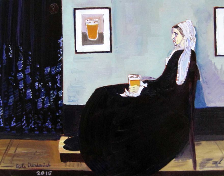 Whistler's Mother Drinking A Pint