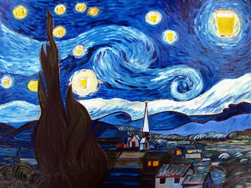 The Starry Pint.  Inspired By Vincent Van Gogh