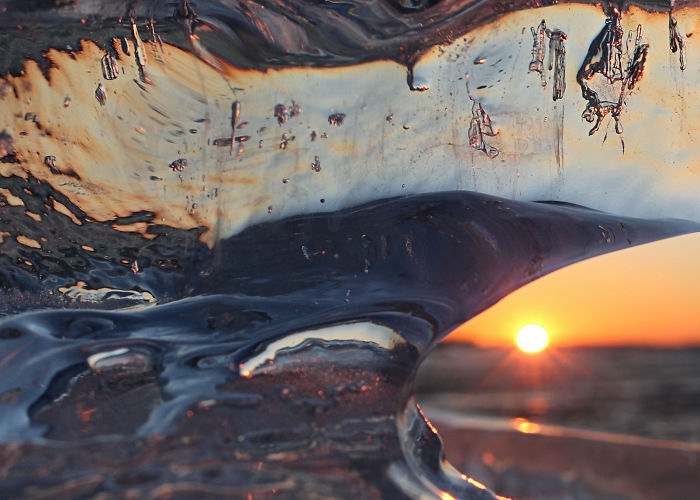 Ice At Sunset: The Warm Colors Of Winter