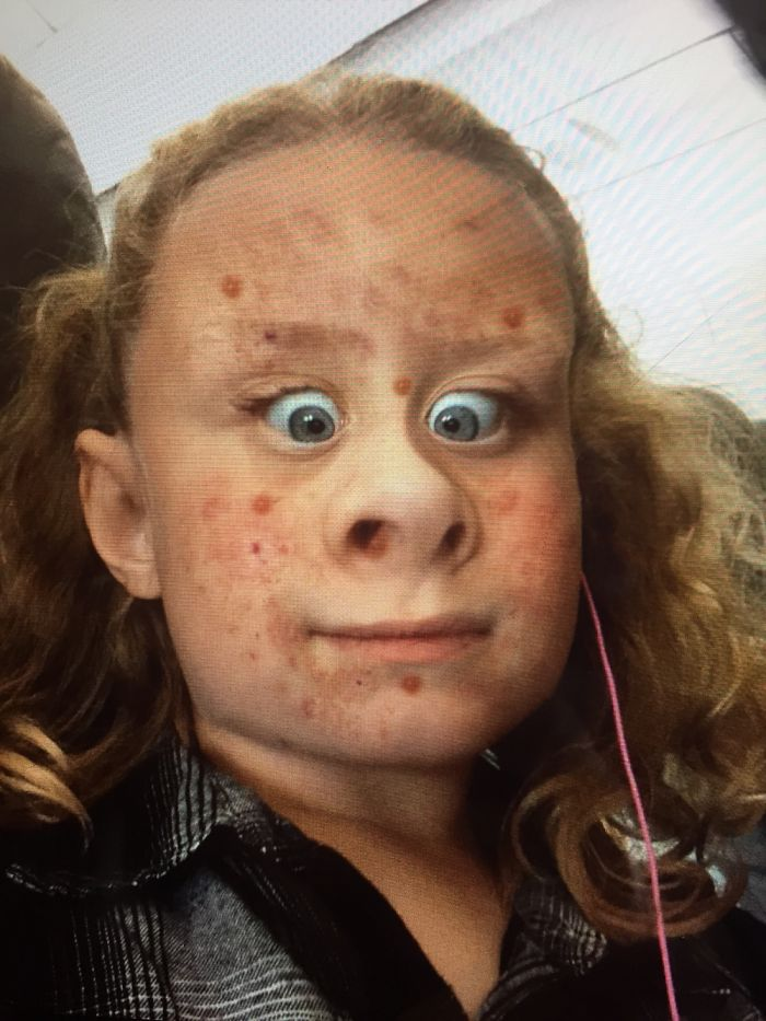 This Is A Picture Of My Sis She Is On A App That Makes Everbody Look Super Funny