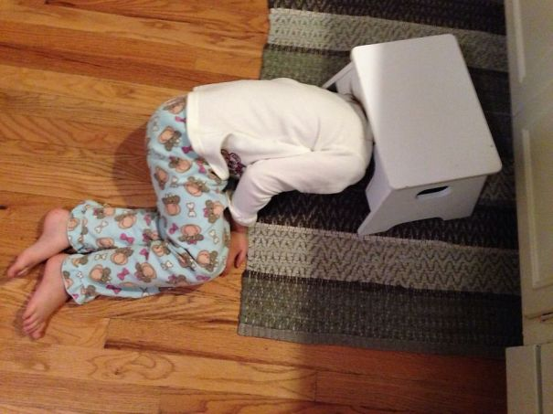 """My Daughter """"hiding"""" In The Kitchen. She Was Surprised When I Found Her."""