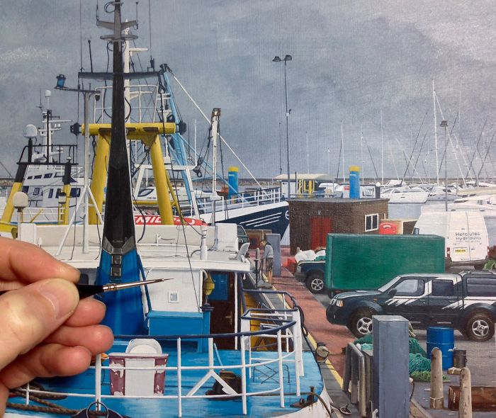 It Took Me 400 Hours To Complete This Hyper-Realistic Painting Of Brixham Harbour