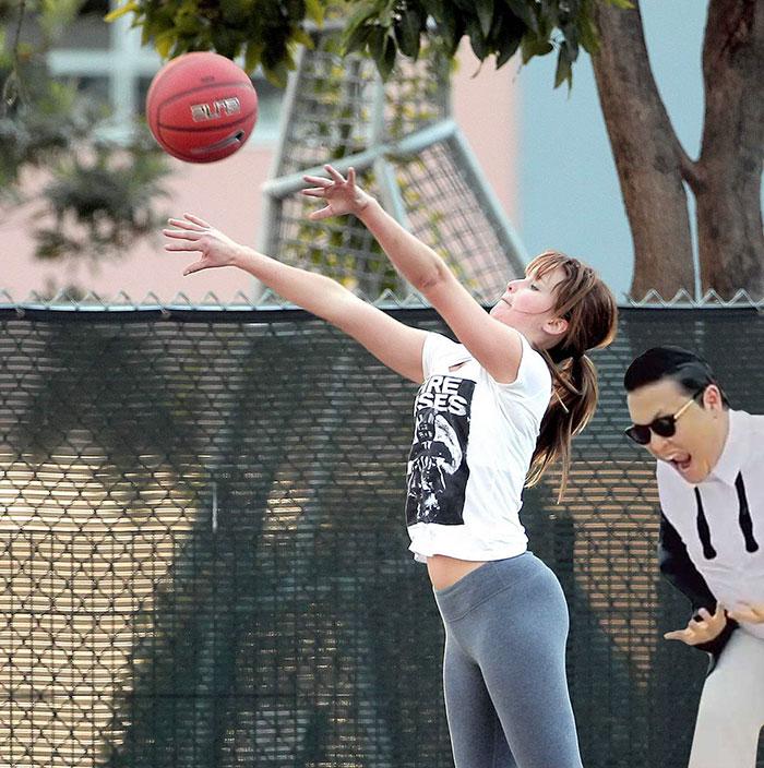 Jennifer Lawrence Playing Basketball