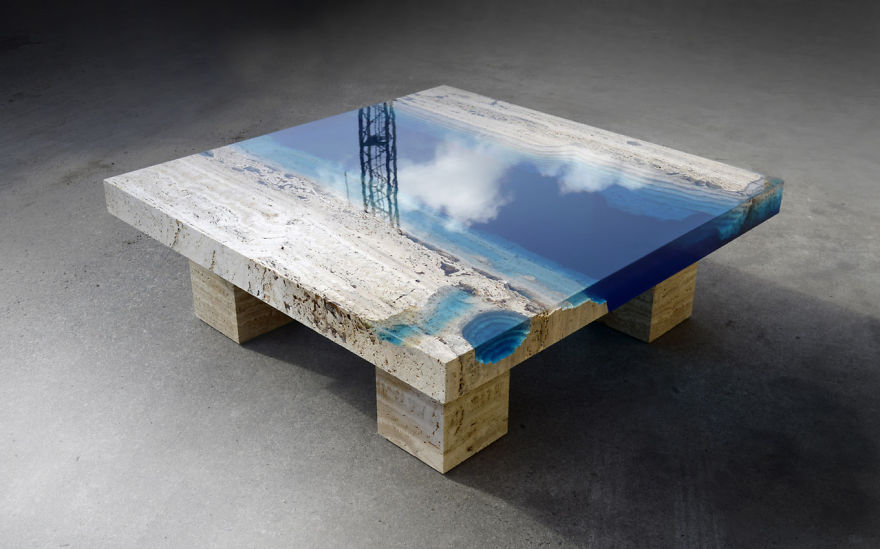 Lagoon Tables That I Made By Merging Resin With Cut Travertine Marble |  Bored Panda