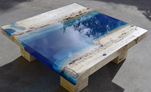 Lagoon Tables That I Made By Merging Resin With Cut Travertine Marble