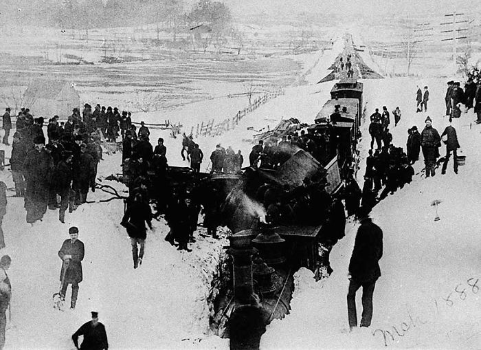 Derailed Train Already Half-Buried In The Snow, harlem Railroad In The State Of New York