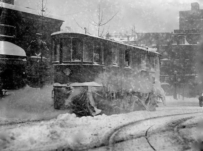 Trolley Is Pushing Through The Snow, Washington, DC
