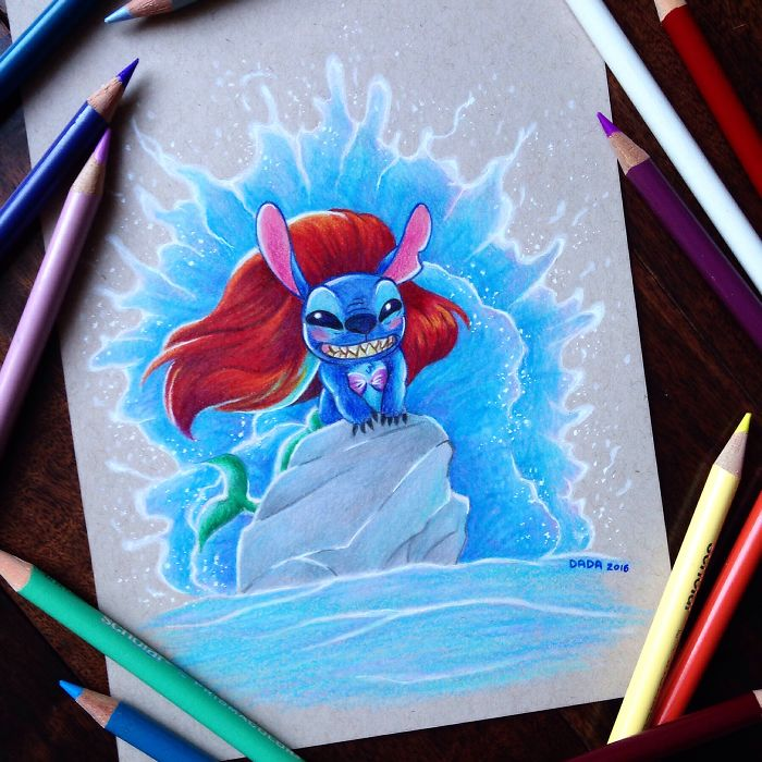 Stitch Invades Various Disney Movies In My Drawings
