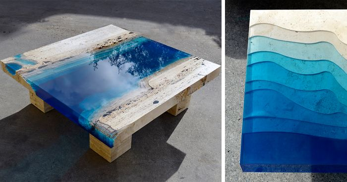 Lagoon Tables That I Made By Merging Resin With Cut