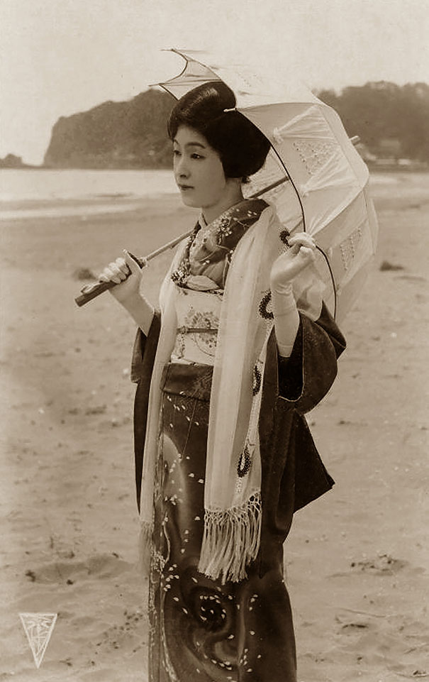 Unknown Japanese Woman With Umbrella