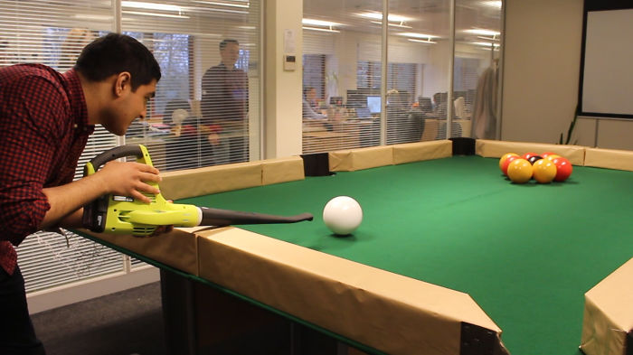 Boss Asked Us To Improve Our Knowledge On Leaf Blowers So We Invented Leaf Blower Billiards