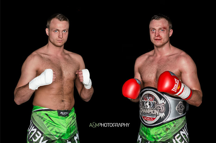 Kok World Series 2016 Lithuanian Fighters' Portraits Before And After The Fight.