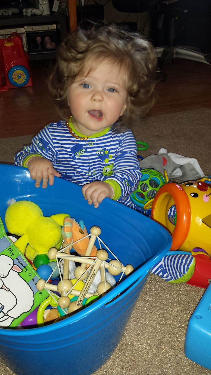 My Sweet 9 Month Old Crazy Haired Baby Boy
