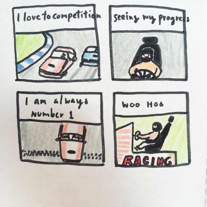 Colored Pencil Comics About A Mustache Guy And His Witty Mind