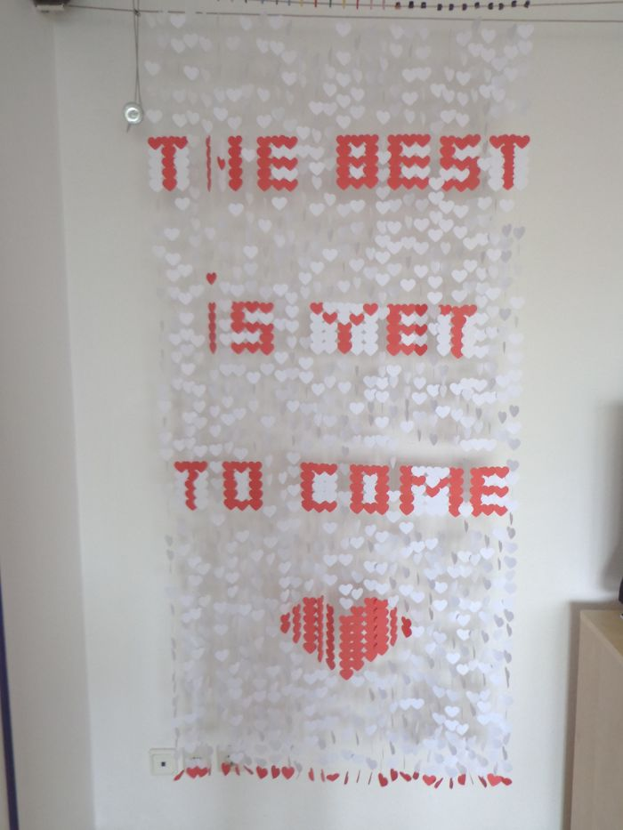 I Used Approximately 1400 Paper Hearts To Write My Wedding Message On A Curtain