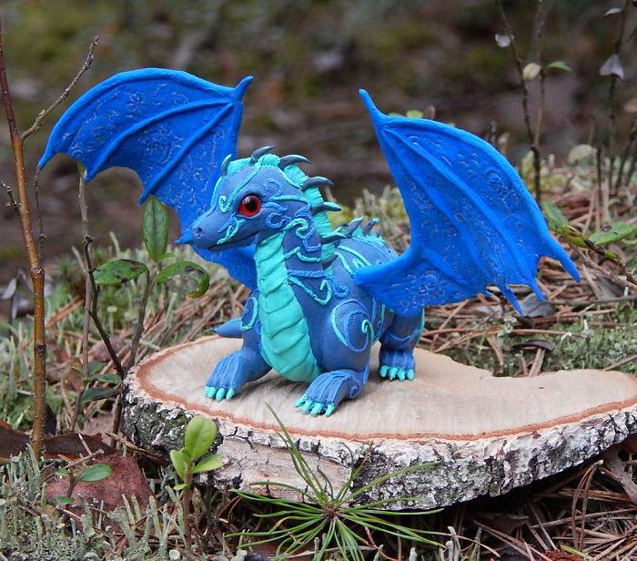 Blue Dragon Figurine, Fantasy Animal