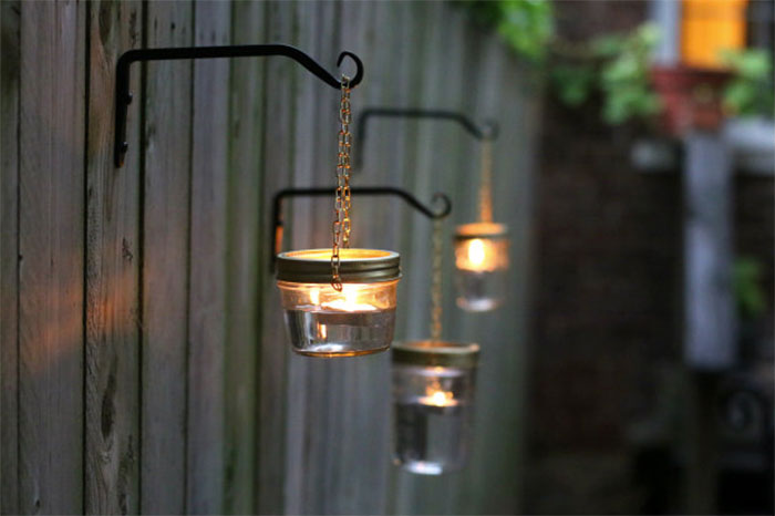 Jar Lights Fence Decor