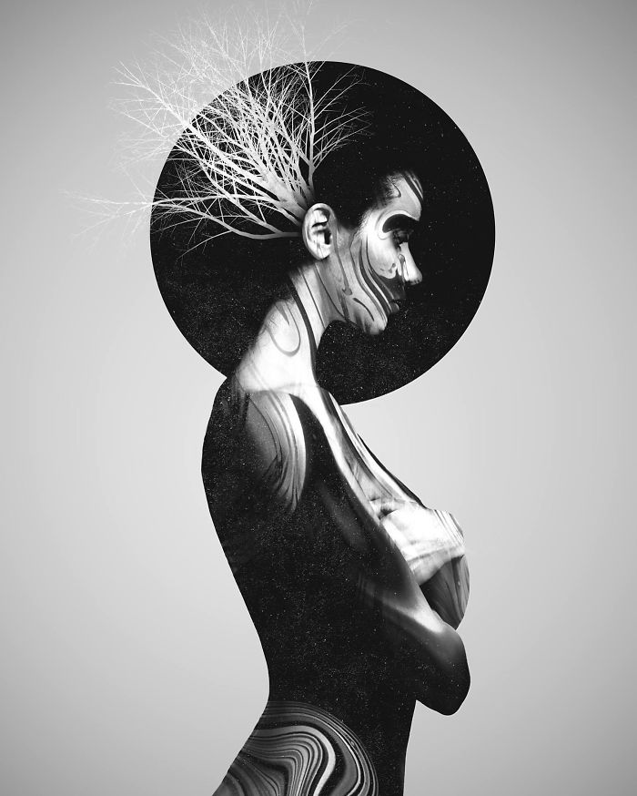 My Monochrome Illustrations Of Animals And Women