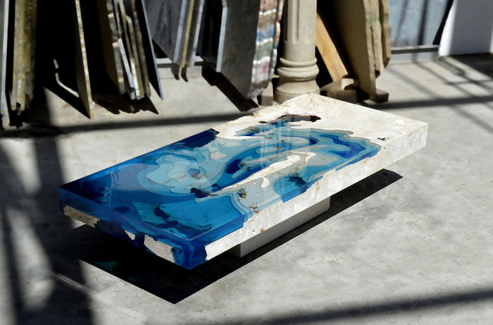My Recent Lagoon Table That I Made By Merging Resin With Cut Travertine Marble