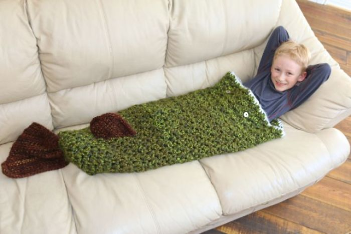 I Designed And Crocheted My Son A Pike Cocoon Blanket