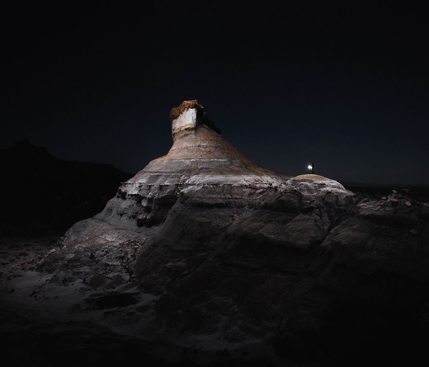 I Lit Landscapes At Night Using Drones With LEDs