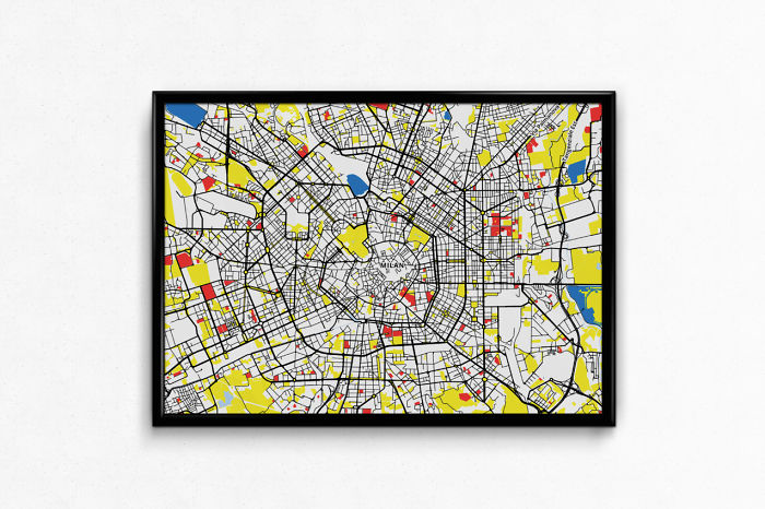 Mondrian View Of European City Maps