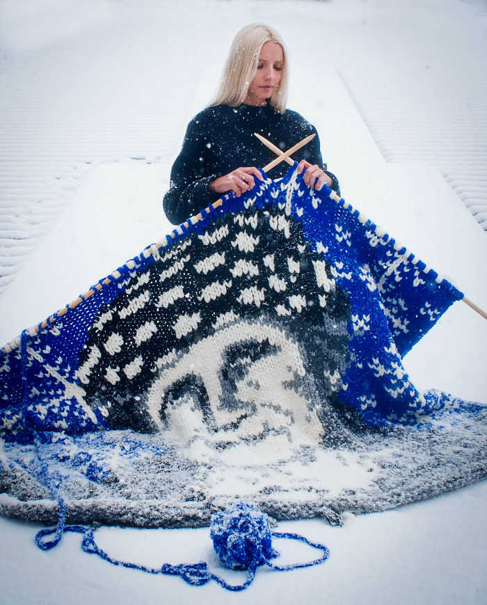 Siberian Artist Knitted With Giant Needles Portraits Of Freud, Gagarin And Putin