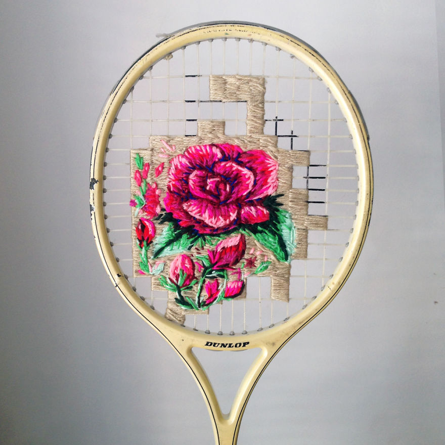 Artist Danielle Clough Embroiders On Old Tennis Rackets