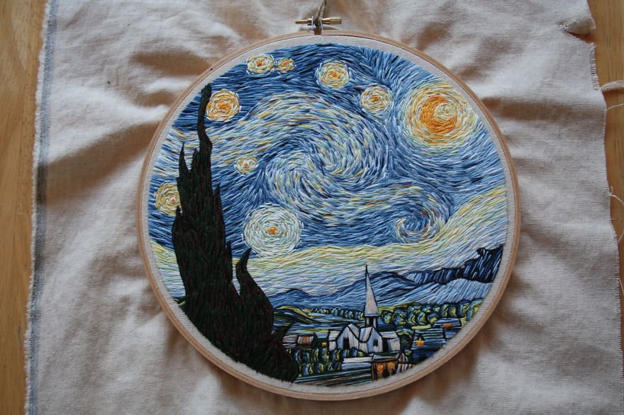 Artist Lauren Spark Recreated Van Gogh's 'starry Night' Using Only Needle And Thread