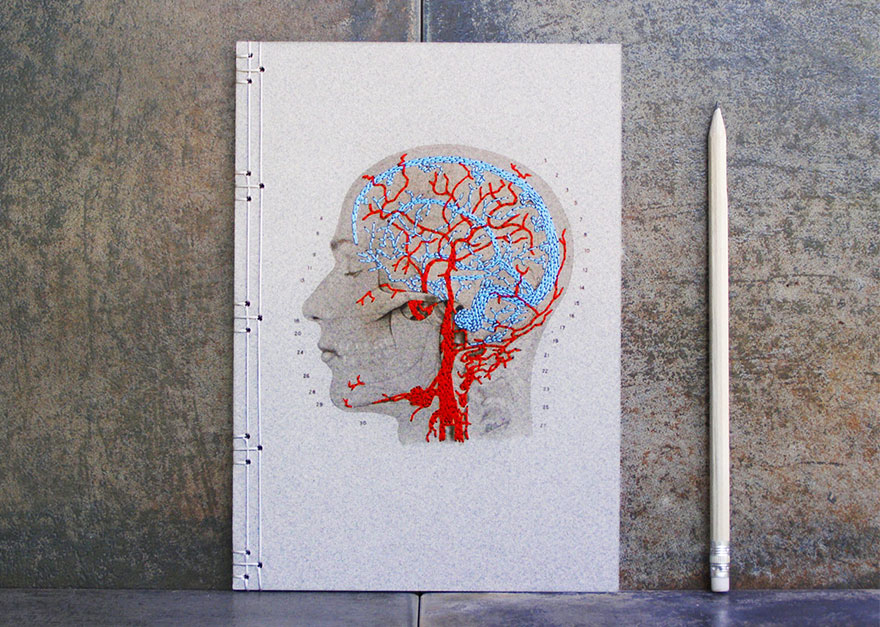 Artist Chara Embroiders Notebook With Veins, Holograms, And Floral Patterns
