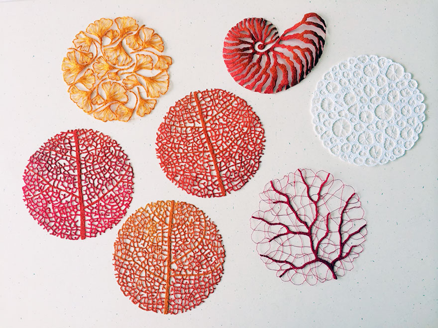 Artist Meredith Woolnough Uses Home Sewing Machine To Capture Nature's Most Delicate Forms With Embroidery