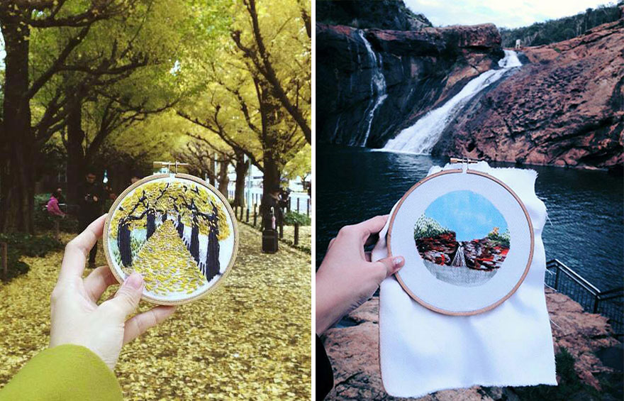Instead Of Taking Photos, Teresa Lim Embroiders Her Travels On-site