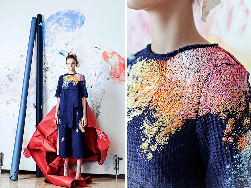 Artists Spent Up To 100 Hours Embroidering Paint On Clothing