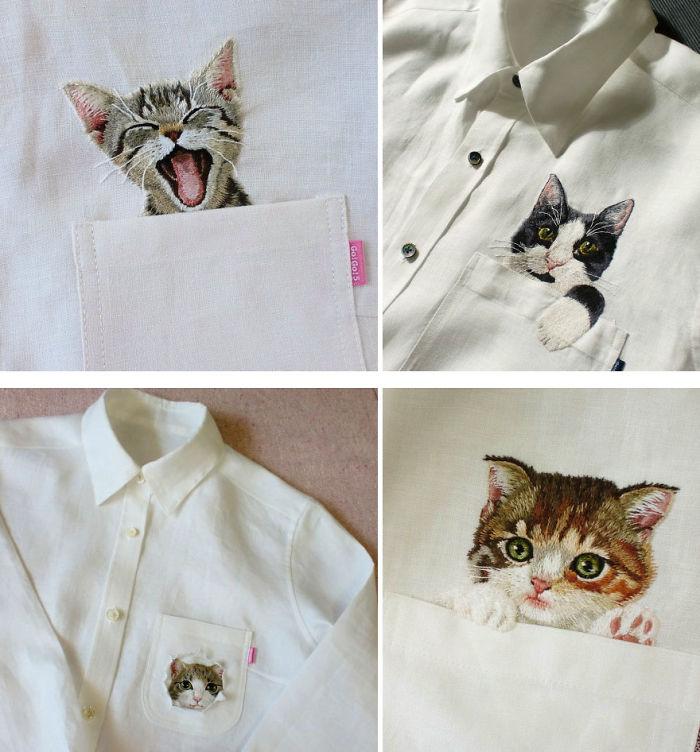 Embroidered Cat Shirts By Hiroko Kubota