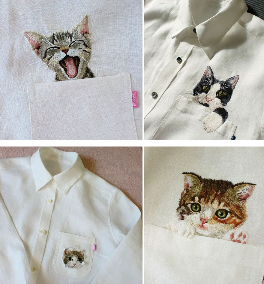 Embroidered Cat Shirts By Hiroko Kubota